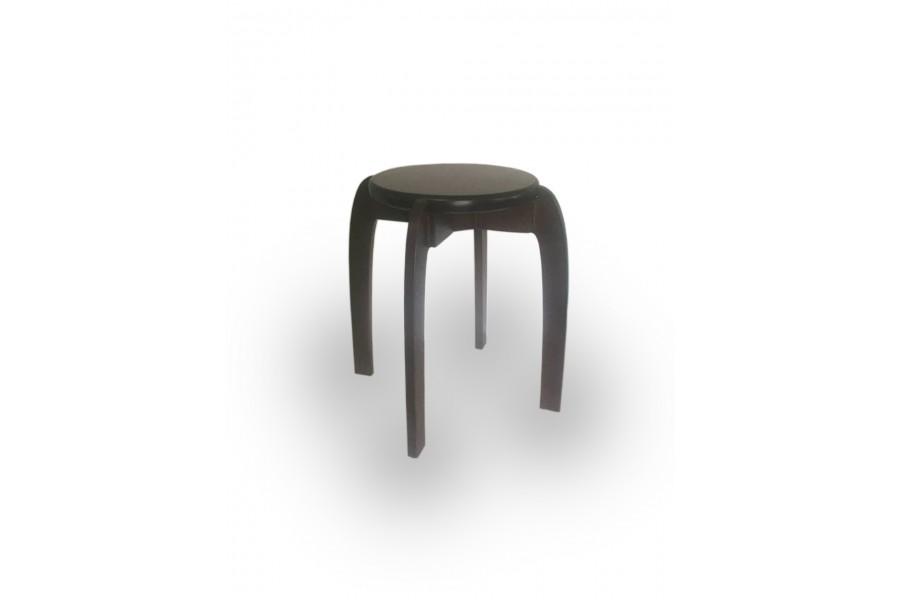 """Stool wooden reinforced round """"Loter"""" 45x45 walnut dark"""